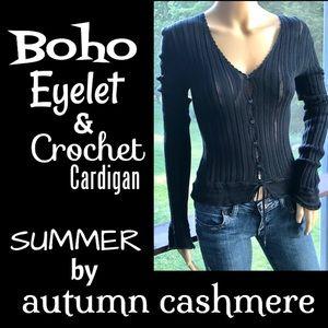 ▪️AUTUMN CASHMERE▪️Boho Eyelet & Crochet Cardigan